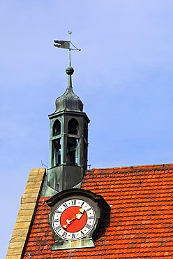 Tiled roof with a clock tower and weather vane, St. Johannis Parish Churck, Ansbach, Franconia, Bavaria, Germany, Europe
