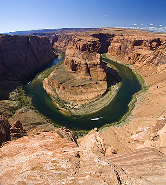 Two boats navigating the Horseshoe Bend river bend, Colorado River, Gooseneck near Page, Arizona, USA, North America