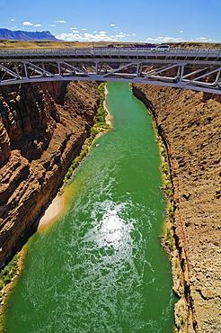 Navajo Bridge, steel bridge going over the Colorado River, Marble Canyon, Navajo Indian Reservation, Arizona, USA, North America