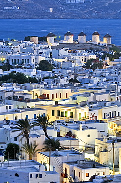 View over the city towards the windmills, the landmark of Mykonos, Cyclades, Greece, Europe