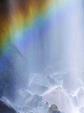 Narada Falls with rainbow, Mount Rainier National Park, Washington, USA, North America