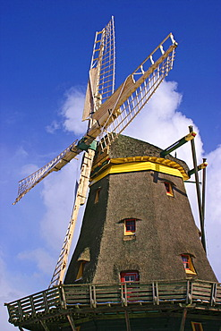 Historical windmill in the open air museum Hessenpark, Neu-Anspach, Hesse, Hassia, Germany in winter