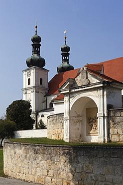 """Pilgrimage church """"Maria auf der Heide"""" and calvary in Frauenkirchen, Burgenland, Austria, Europe"""