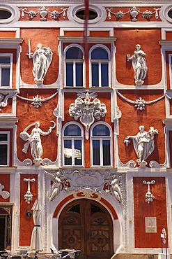 Facade of the Hacklhaus building, Leoben, Upper Styria, Styria, Austria, Europe, PublicGround