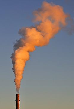 Exhaust emissions, plume of smoke, chimney of a power plant, Kiel, Schleswig-Holstein, Germany, Europe