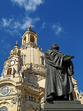 Dresden, Saxony, Dresden old town with the Frauenkirche new built up and the Martin Luther monument