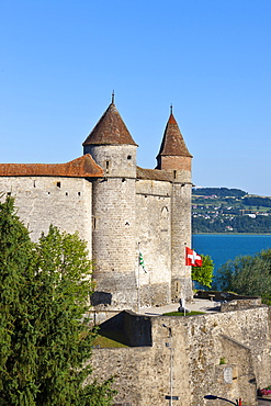 Grandson Castle in Grandson, Lake Neuchatel, Canton Vaud, Switzerland, Europe