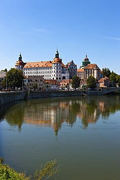 View across the Danube river, Schloss Neuburg castle, Neuburg an der Donau, Bavaria, Germany, Europe