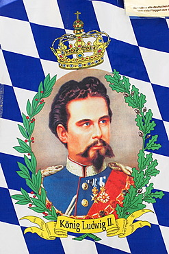 Bavarian flag with King Ludwig II of Bavaria