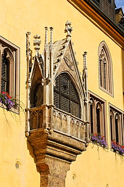 Gothic oriel at Old Town Hall, Regensburg, Upper Palatinate, Bavaria, Germany