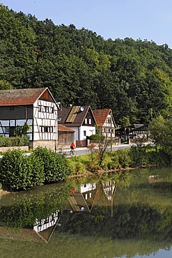 Saale river in Unterebersbach, Rhoen, Franconia, Bavaria, Germany