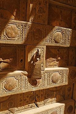 Historic door in the old town of Al Hajjaryn, Wadi Doan, Hadramaut, Yemen
