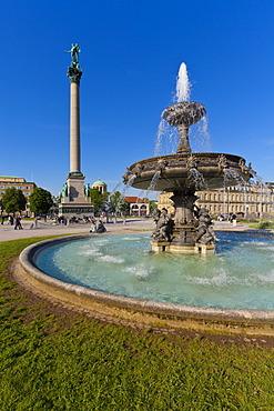 Jubilee Column, fountain, Neues Schloss, castle, New Palace, Schlossplatz square, Stuttgart, Baden-Wuerttemberg, Germany, Europe