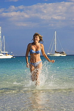 Woman, 35 years old, at Cala Brandinchi Beach, Mediterranean, East coast, Sardinia, Italy, Europe