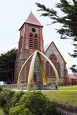 Christ Church Cathedral and a whale bone arch, Port Stanley, capital of the Falkland Islands, Malvinas Islands, British Overseas Territory, South America