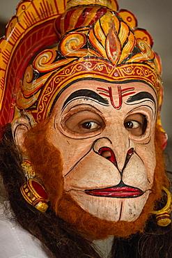 Mask wearer, Hindu Vaishnava monastery on the island of Majuli, Brahmaputra, Assam, India, Asia