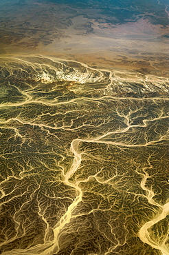 Aerial view, wadis, dry river valleys in Hurghada, Egypt, Africa