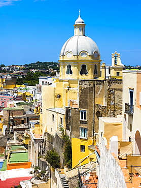 View of the island of Procida with its colourful houses and the church of Santuario S. Maria delle Grazie Incoronata, harbour and the Marina di Corricella, island of Procida, Phlegraean Islands, Gulf of Naples, Campania, Italy, Europe