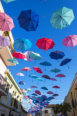 Umbrellas Street in Pula, Sardinia, Italy, Europe