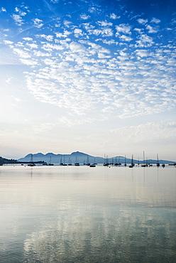 Sailing boats, Puerto de Pollensa, Port de Pollenca, Majorca, Balearic Islands, Mediterranean Sea, Spain, Europe