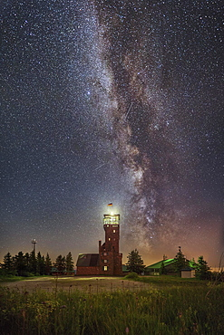 Observatory Hornisgrindeturm, by night with Milky Way, Seebach, Baden-Württemberg, Germany, Europe