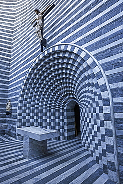 Church of San Giovanni Battista, interior view, architect Mario Botta, Mogno, near Fusio, Lavizzara, Canton Tessin, Switzerland, Europe