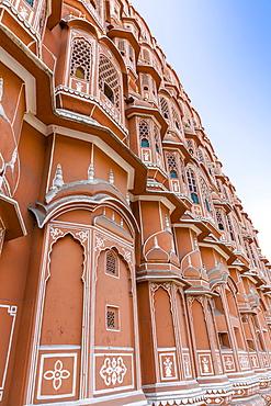 Sandstone facade of Hawa Mahal, Palace of Winds, Jaipur, Rajasthan, India, Asia
