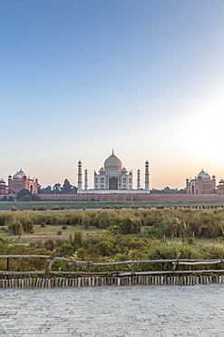 Taj Mahal, seen from across the Yamuna River, Agra, Uttar Pradesh, India, Asia
