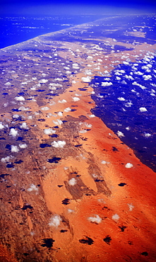 Small clouds over desert landscape, Somalia, Africa