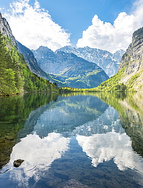 Obersee water Reflection, behind Watzmann massif, Salet on lake Konigssee, National Park Berchtesgaden, Berchtesgadener Land, Upper Bavaria, Bavaria, Germany, Europe