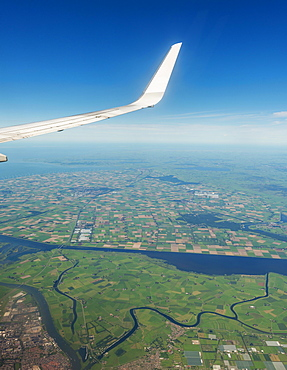 Rivers and scenery, view from aircraft, Amsterdam surroundings, Netherlands