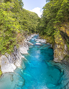 Blue Pools Rock Basin, Makarora River, Turquoise Crystal Water, Wanaka, West Coast, South Island, New Zealand, Oceania