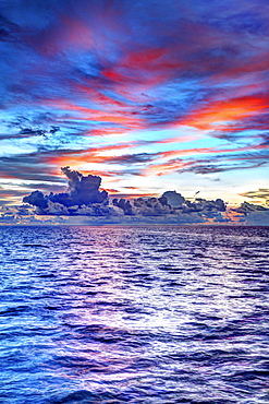 Sunset over the sea, cloud sky, Gangehi Island, Ari Atoll, Indian Ocean, Maldives, Asia