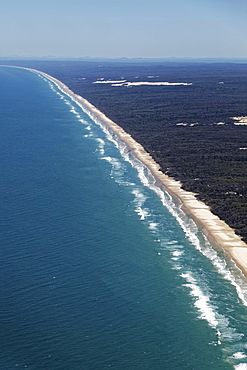 Aerial view 75 Mile Beach Road, official Highway, UNESCO World Heritage Site, Fraser Island, Great Sandy National Park, Queensland, Australia, Oceania