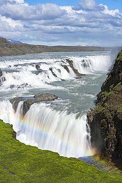 Gullfoss waterfall with rainbow, rainbow, Hvita River, Iceland, Europe