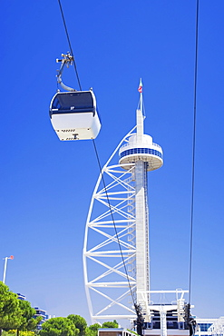 Vasco da Gama Tower with funicular, Lisbon, Portugal, Europe