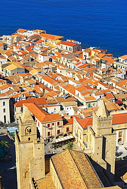 View of the town from La Rocca, Cefalu, Sicily, Italy, Europe