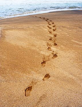 Footprints in the sand, beach of Playa de la Solapa in Ajuy, Fuerteventura, Canary Islands, Spain, Europe