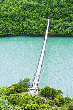 Suspension bridge across the Black Drin River, Albania, Europe