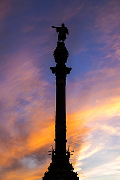 Columbus Monument, column at sunset, Barcelona, Catalonia, Spain, Europe