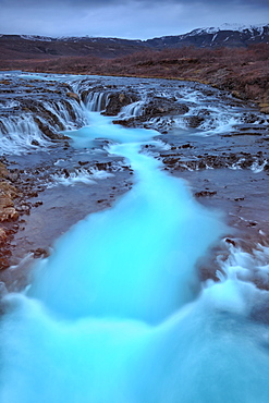 Bruarfoss Waterfall, turquoise stream, Iceland, Europe