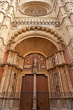 Renaissance main portal, Cathedral La Seu, Palma de Majorca, Majorca, Balearic Islands, Spain, Europe