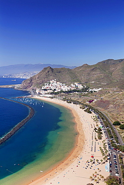 Beach Playa de las Teresitas, San Andres, behind Santa Cruz, Tenerife, Canary Islands, Spain, Europe