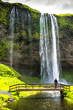 Seljalandsfoss Waterfall, with bridge, Iceland, Europe