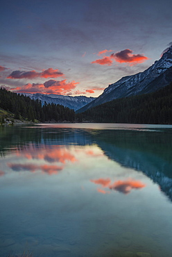 Cloudy atmosphere on Two Jack Lake, Banff National Park, Canadian Rockies, Alberta Province, Canada, North America