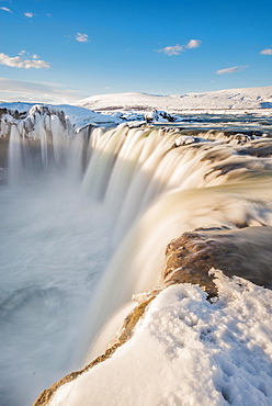 Waterfall Góðafoss, Godafoss in winter with snow and ice, Skjálfandafljót river, Norðurland vestra, Northern Iceland, Iceland, Europe