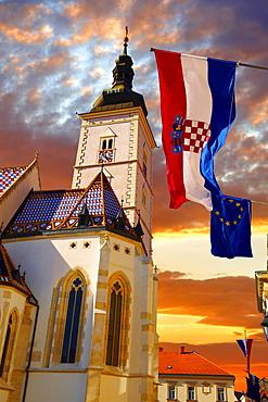 Late Gothic church of St Mark's Church or Crkva sv Marka, Zagreb, Croatia, Europe