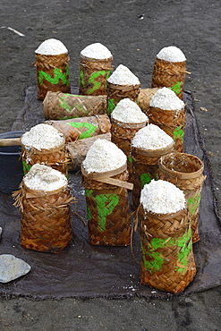 Harvested sea salt, packed to dry, known as Fleur de Sel, North Bali, Bali, Indonesia, Asia