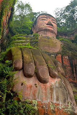 Largest stone Buddha statue in the world, Leshan Giant Buddha, Leshan, Sichuan, China, Asia