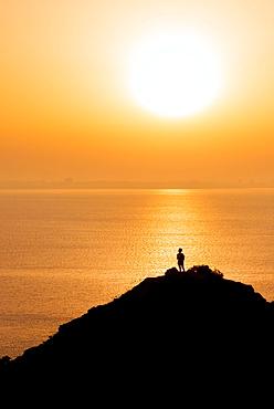 Sunset, rocks in the sea, Algarve rocky coast, Ponta da Piedade, Lagos, Portugal, Europe